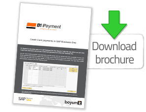 [Translate to spanish:] Want to learn more about Credit Card payments within SAP Business One? Then download our brochure about B1 iPayment - Get it here